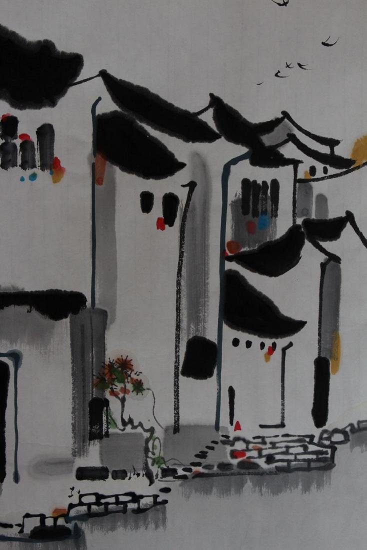 Chinese Painting of Watery Village, Signed Wu Guan - 5