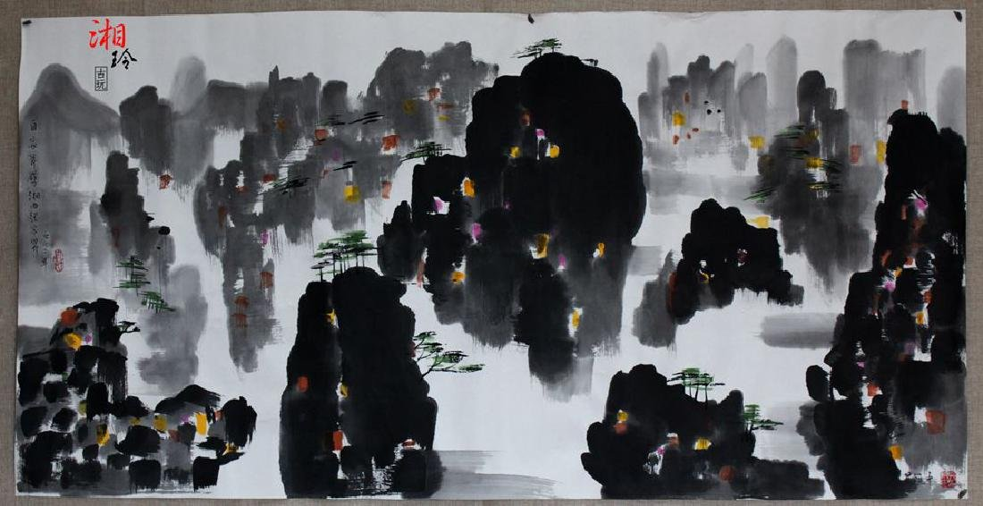 Chinese Painting of Watery Village, Signed Wu Guan