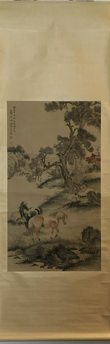Chinese Painting of Double Horses signed Ge Xianglan