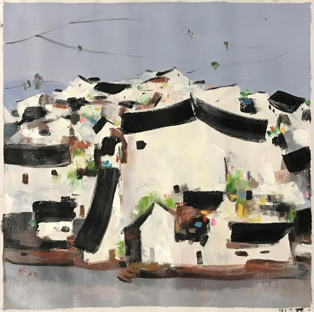 Chinese Oil Painting on Canvas Signed Wu Guanzhong