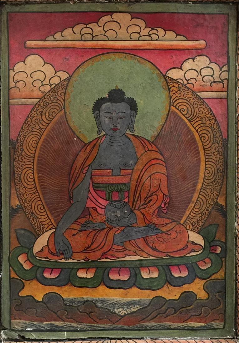 Chinese Tibetan Thangka Art with Framed