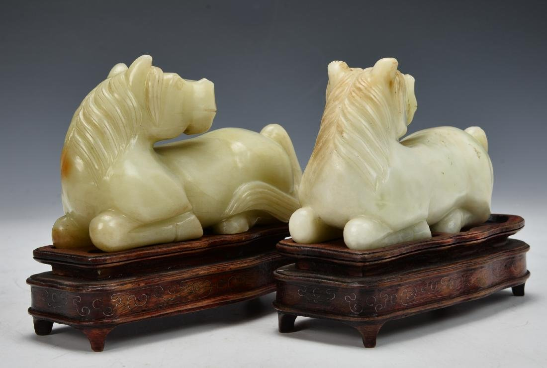 A Pair of Antique Chinese Jade Horse Figure