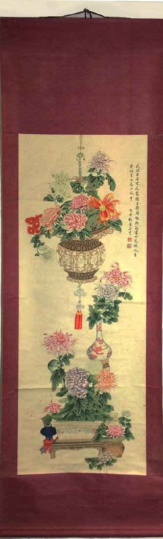 Chinese Scroll Painting on Paper, Flower