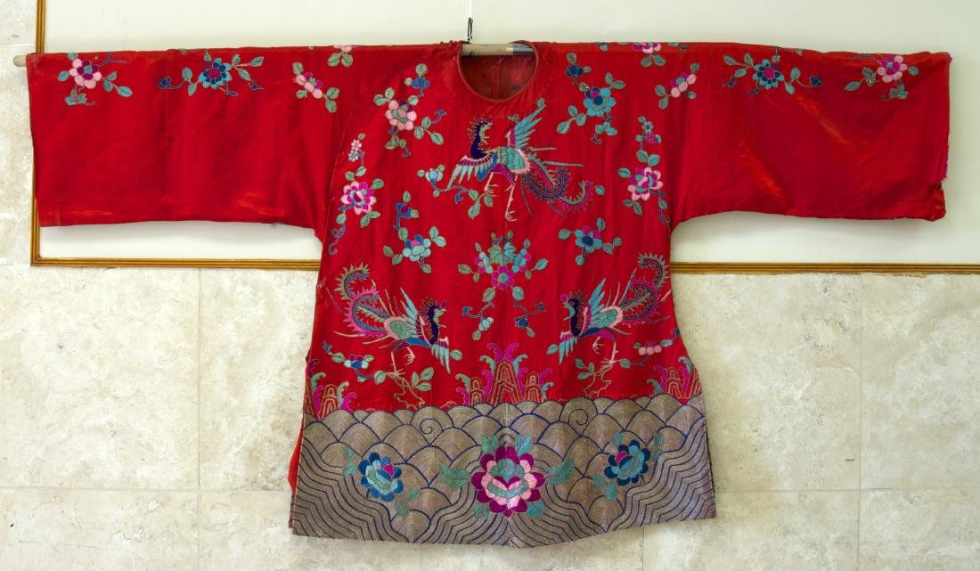 A Hand-embroidered Silk Cloth of a Phoenix with Flowers