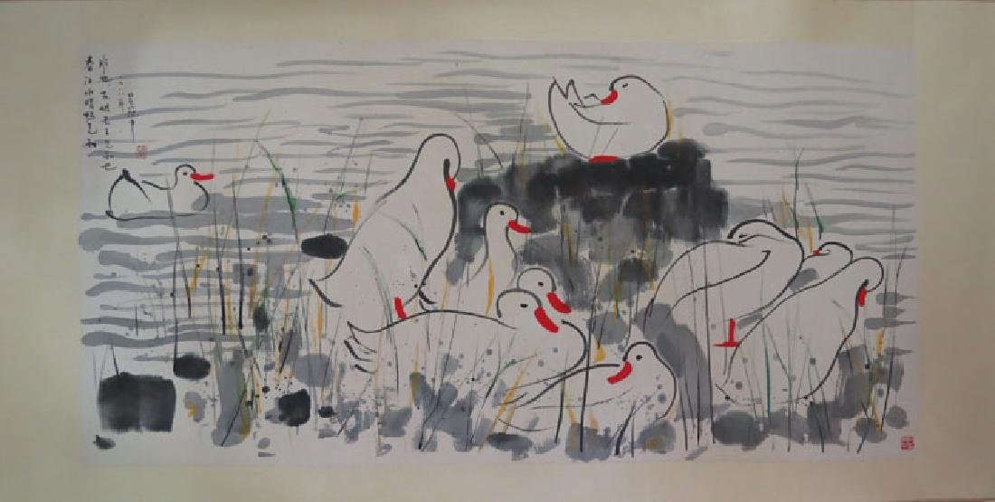 Chinese Painting of Lanscape Signed Wu Guan Zhong