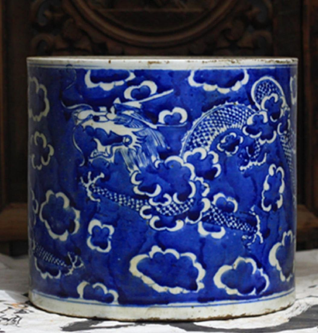 Chinese Blue And White Dragon Jar - 5