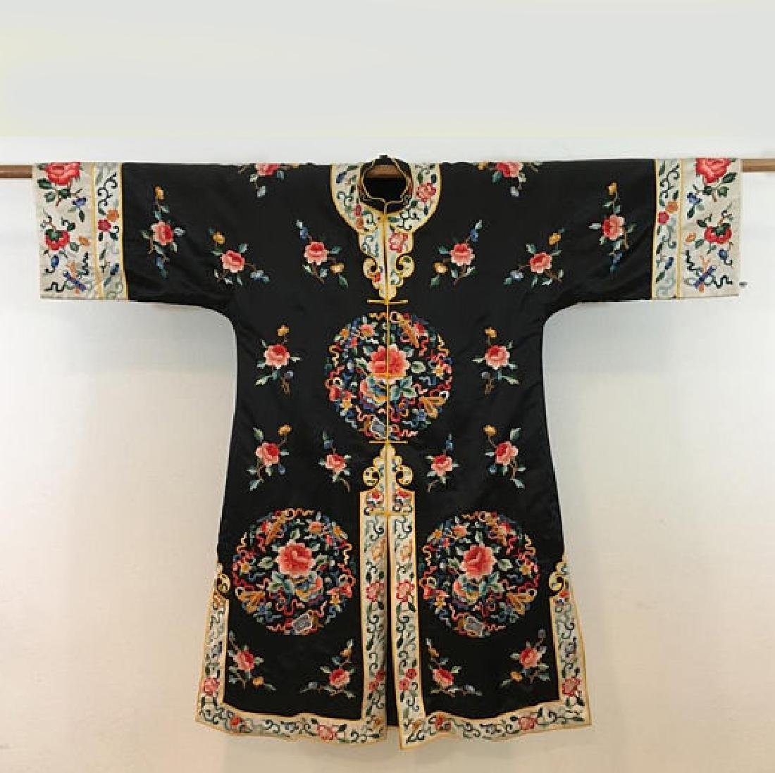 Chinese Antique Embroidered Silk Robe
