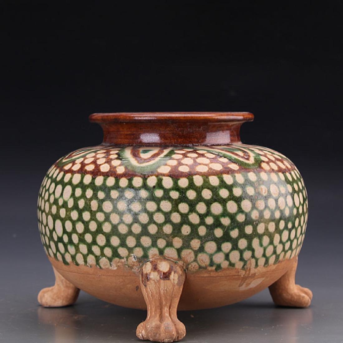 Chinese Tang San Cai Tripod Censer