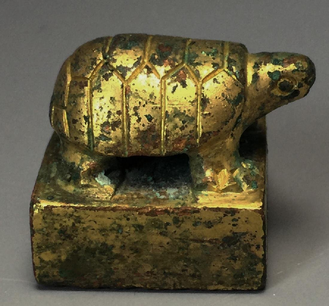 CHINESE GILT BRONZE SEAL - 2
