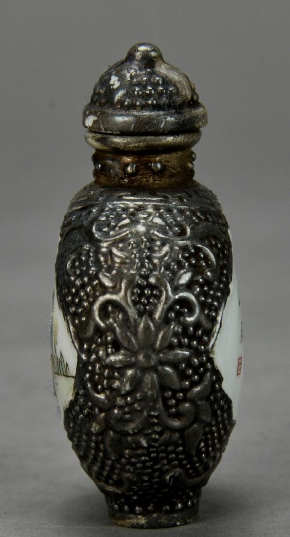 CHINESE SILVER SNUFF BOTTLE - 2