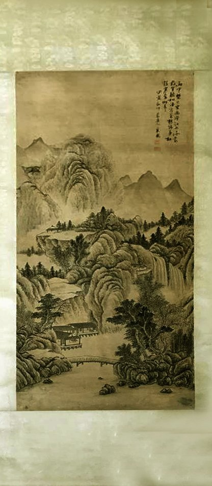 CHINESE PAINTING ON PAPER LANDSCAPE - 3