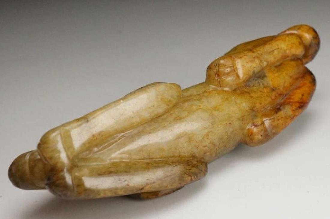 CHINESE MOTTLED JADE HAND PIECE - 6