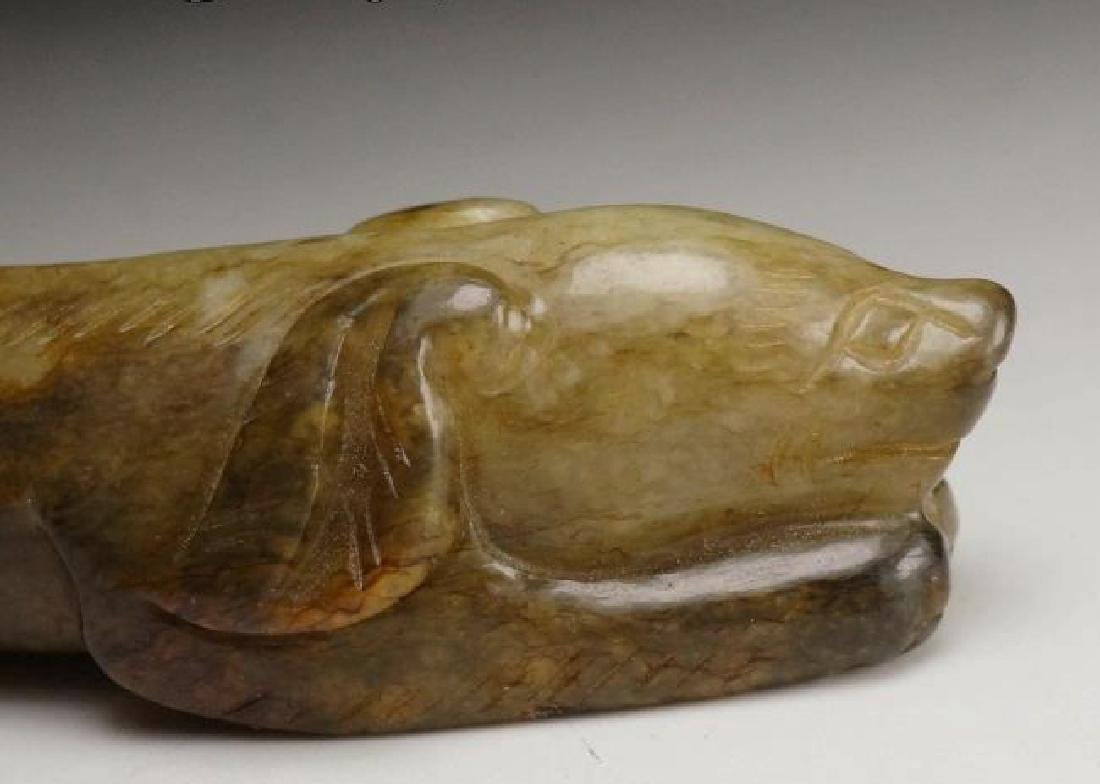 CHINESE MOTTLED JADE HAND PIECE - 7