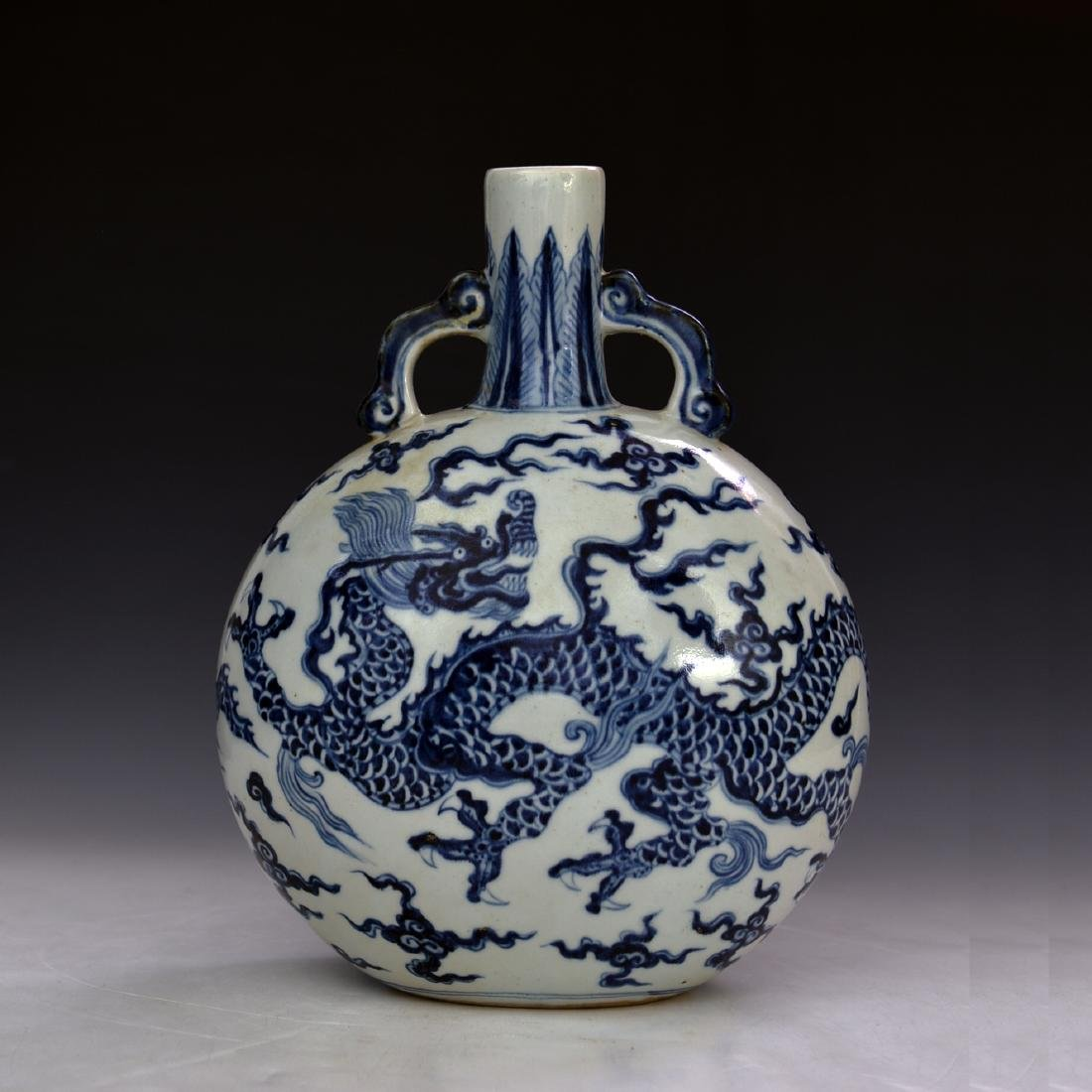 CHINESE BLUE AND WHITE MOON FLASKS
