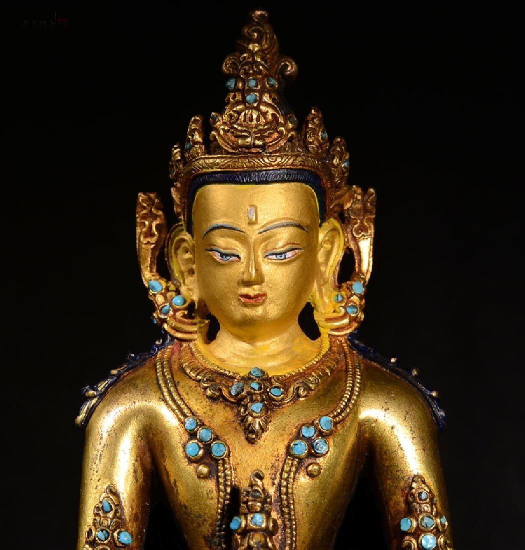 ANTIQUE TIBETAN GILT BRONZE BUDDHA STATUE - 2