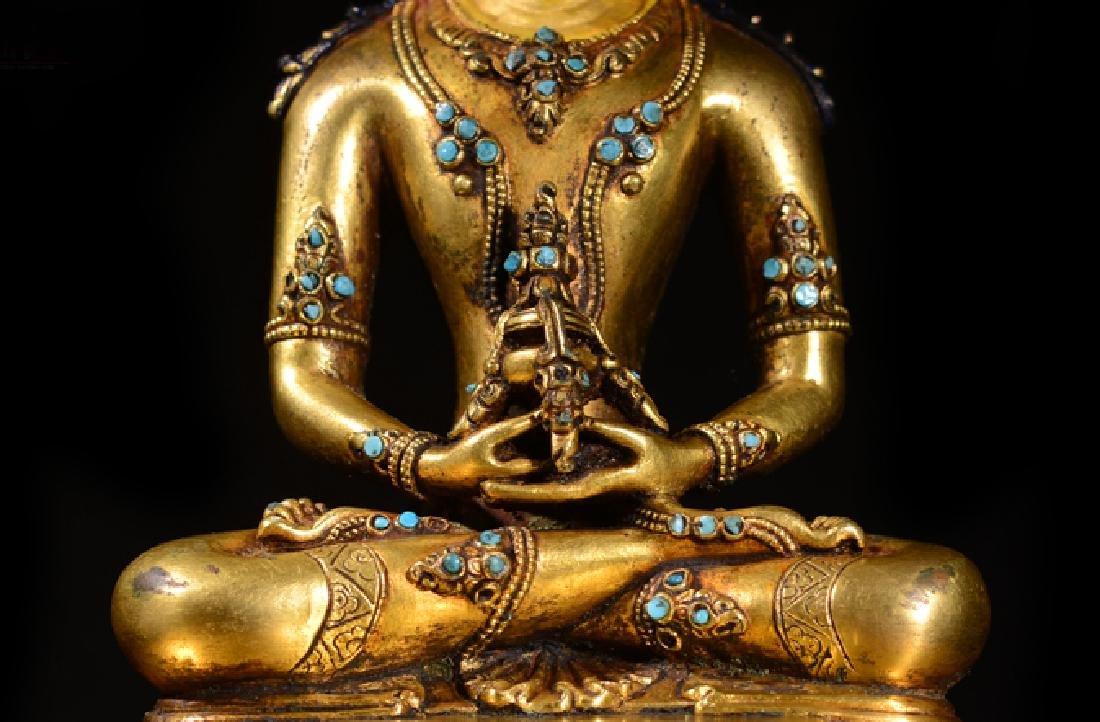 ANTIQUE TIBETAN GILT BRONZE BUDDHA STATUE - 3