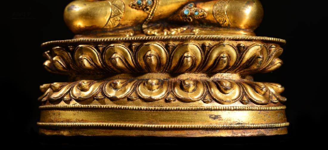 ANTIQUE TIBETAN GILT BRONZE BUDDHA STATUE - 4