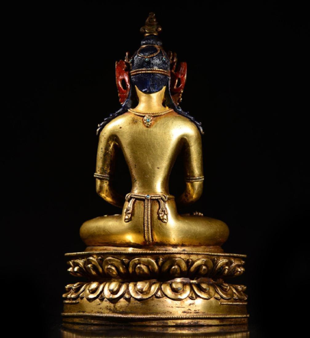 ANTIQUE TIBETAN GILT BRONZE BUDDHA STATUE - 6