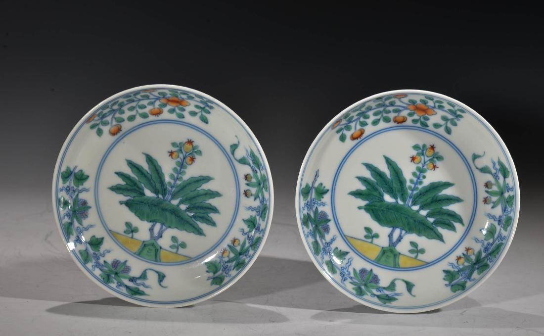 A PAIR OF CHINESE DOUCAI DISHES