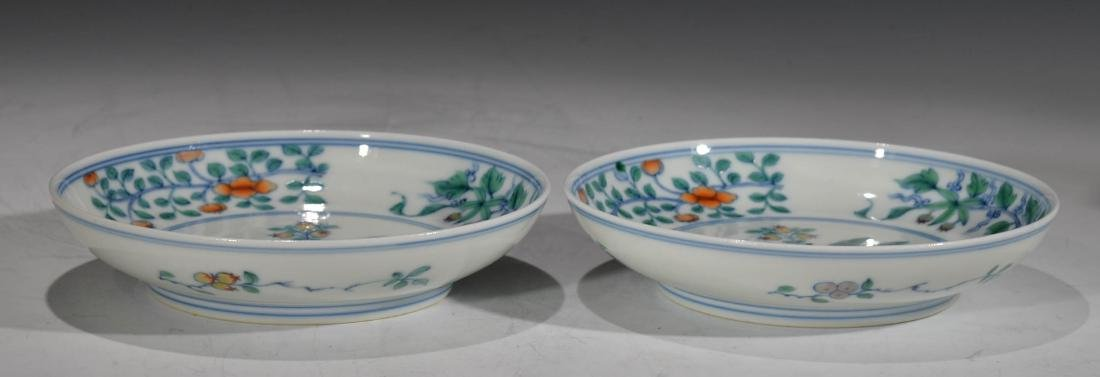 A PAIR OF CHINESE DOUCAI DISHES - 3