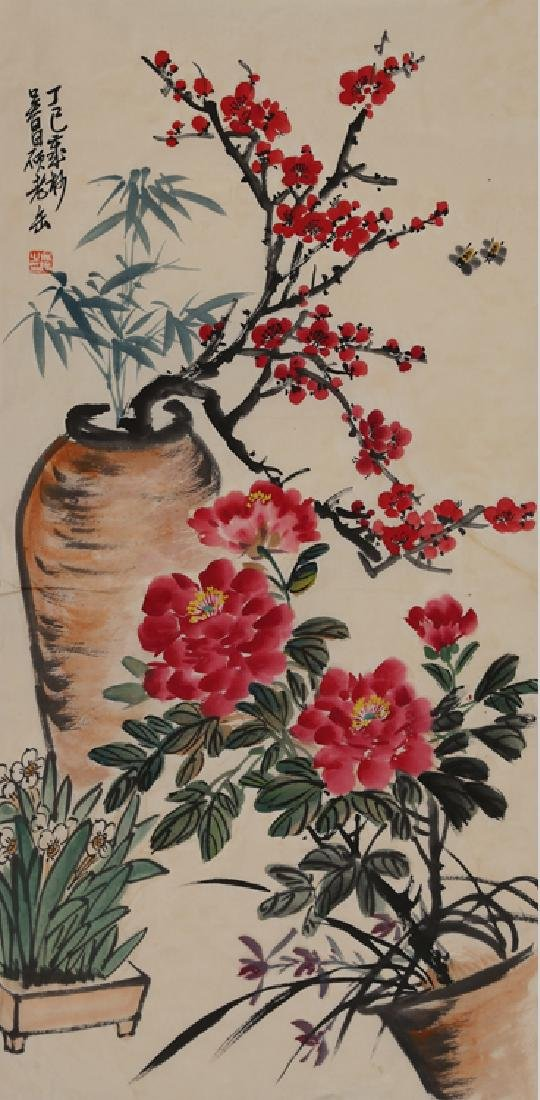 WU CHANG SHUO (1844-1927) FLOWER AND BRID
