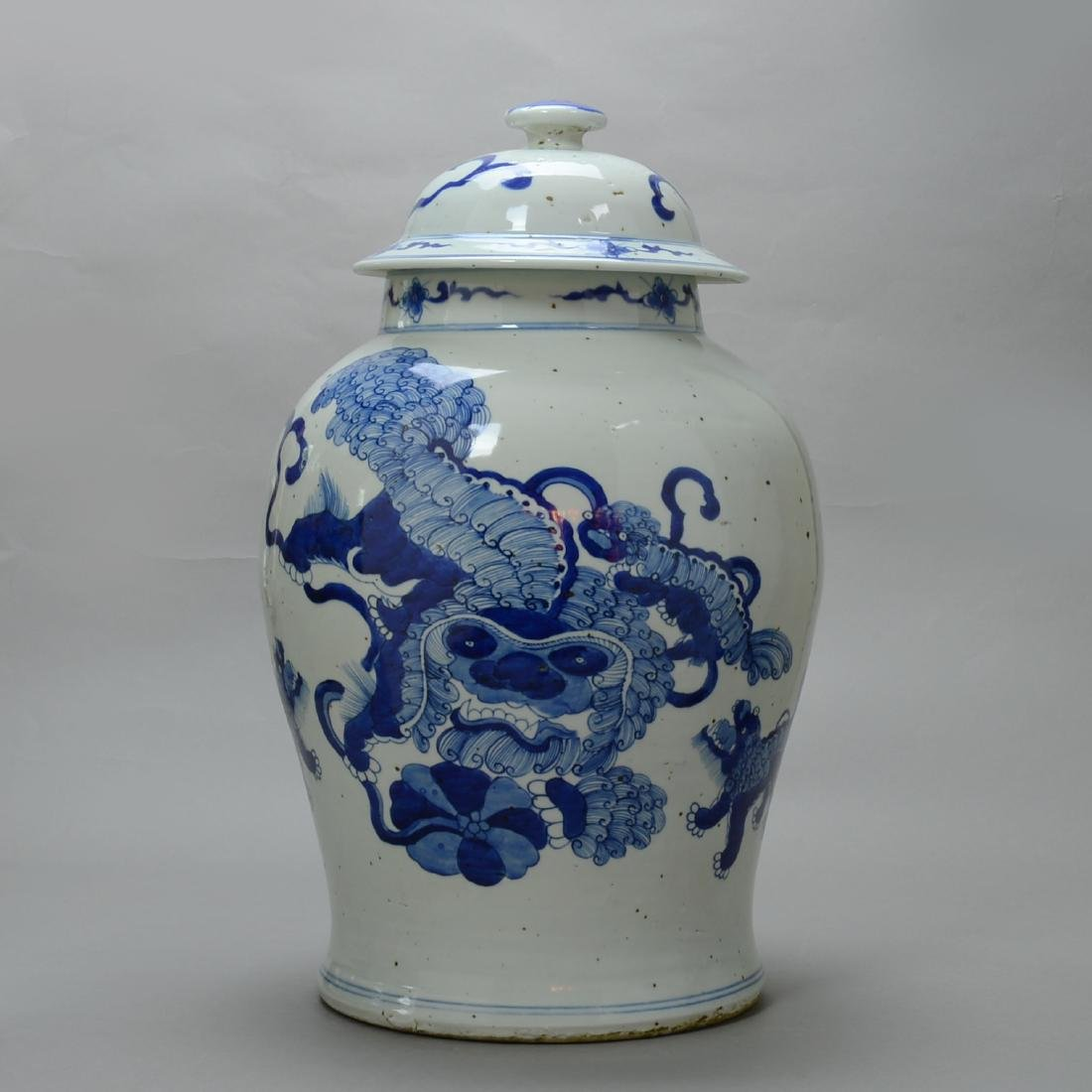 CHINESE BLUE AND WHITE JAR WITH COVER KANGXI PERIOD