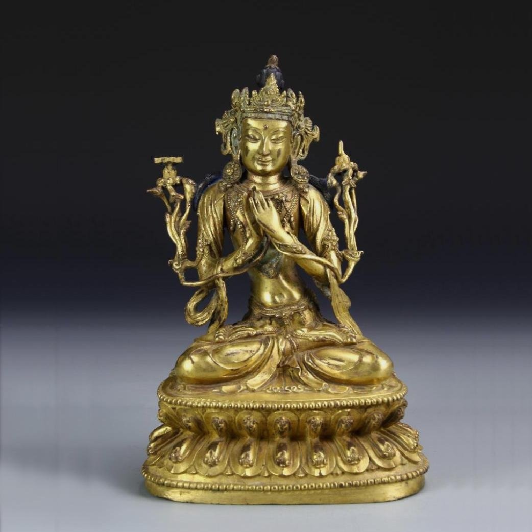 ANTIQUE TIBETAN GILT BRONZE BUDDHA STATUE