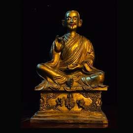 CHINESE ANTIQUE GILT BRONZE BUDDHA STATUE