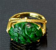 Chinese Antique Jadeite Ring 14k gold