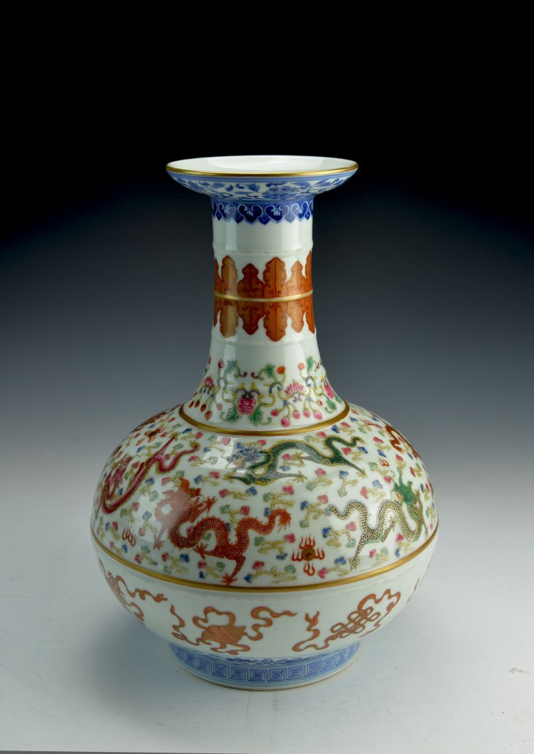 Qing Dynasty Chinese Famille Rose Vase