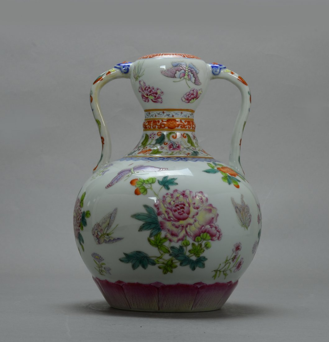19 Cent., Chinease Famille Rose Gourd Vase