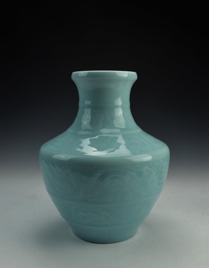Chinese Monochrome Light Blue Glaze Porcelain Vase