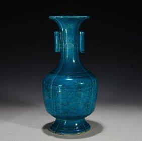 Chinese Peacock Blue Glazed Vase