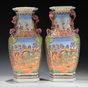 A Pair Of Chinese Export Porcelain Vases