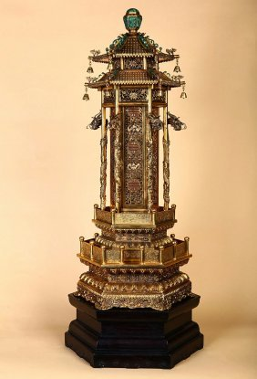 Chinese Bronze Gilted Tower