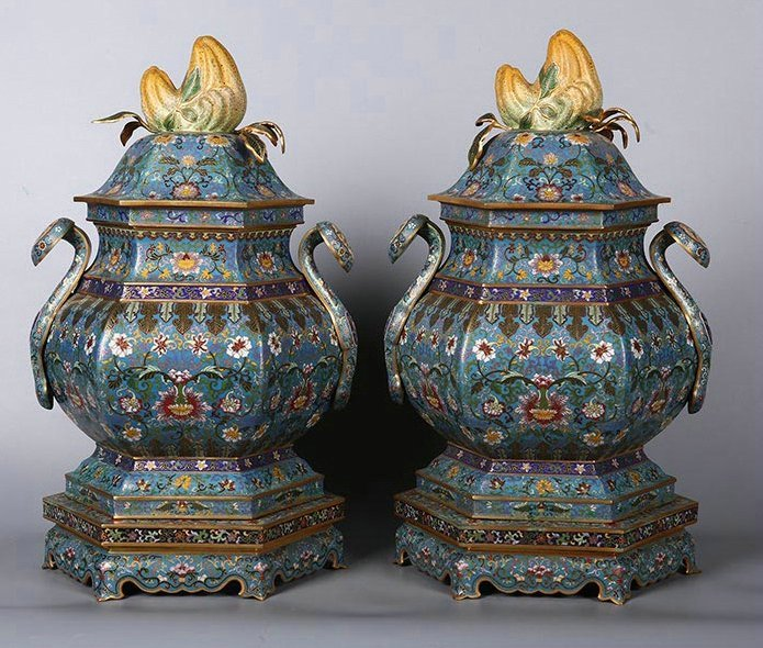 A pair of chinese bronze colour enamels censer painting