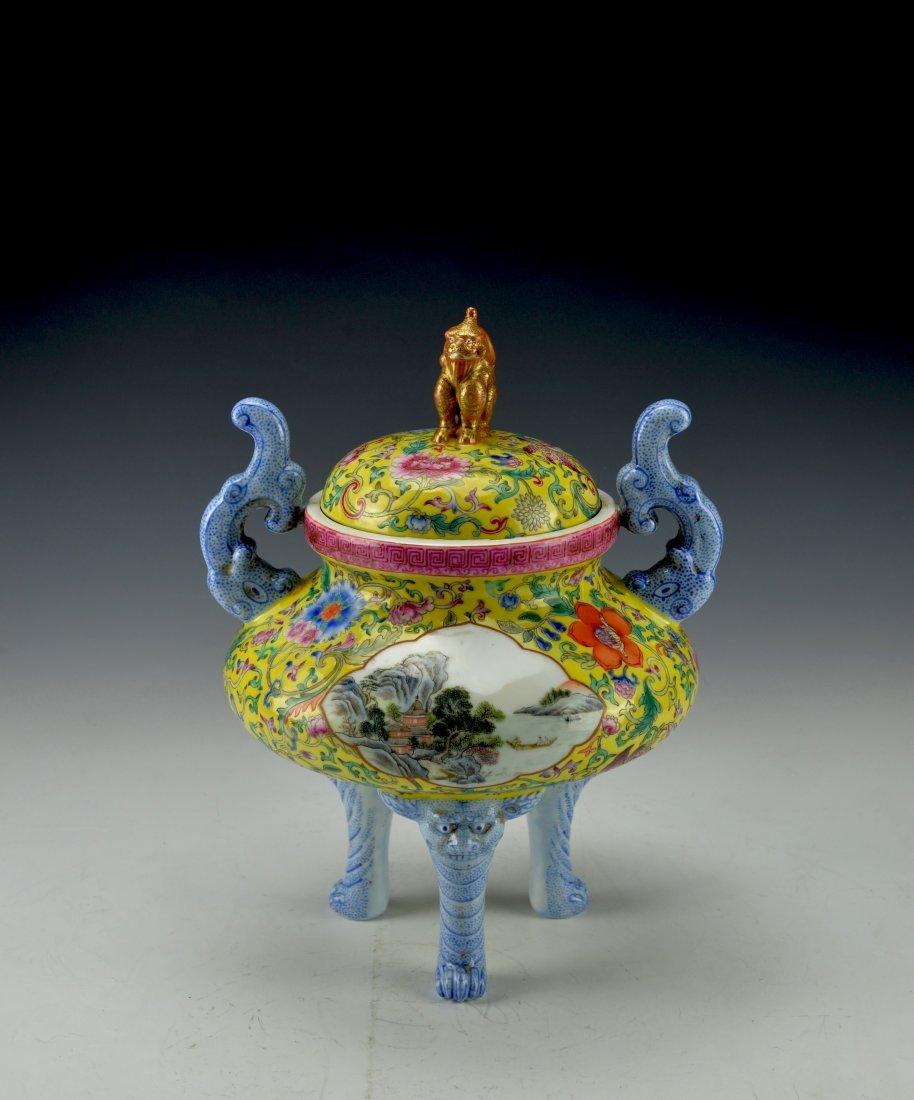 Chinese Antique Famille Rose Censer