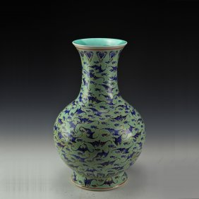 Chinese Green Glazed Blue And White Vase