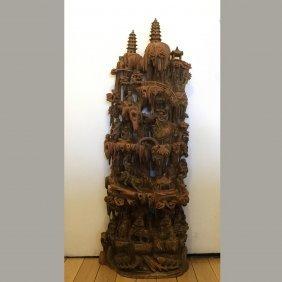 Fine Antique Carved Sandalwood Asian Gods