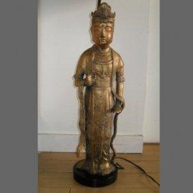 Chinese Metal Buddha Converted Lamp