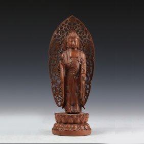 Chinese Boxwood Guanying Statue