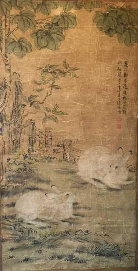 Chinese Scroll Painting Of Rabbit