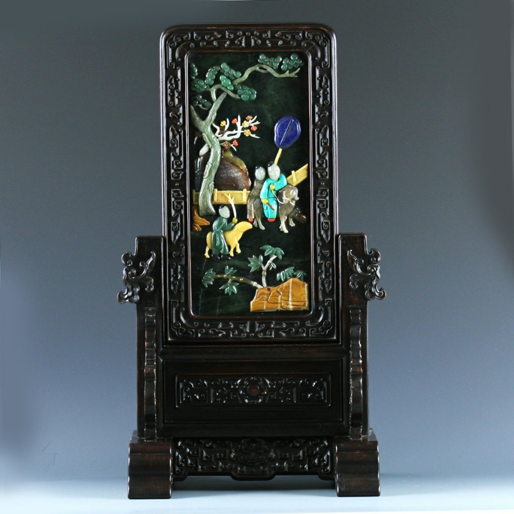 Chinese Carved Green Jade Table Screen