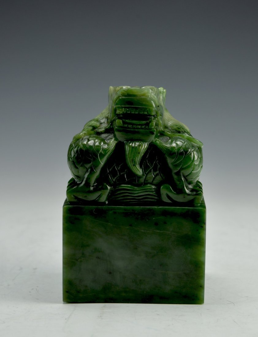 Chinese green jade seal carved with dragon