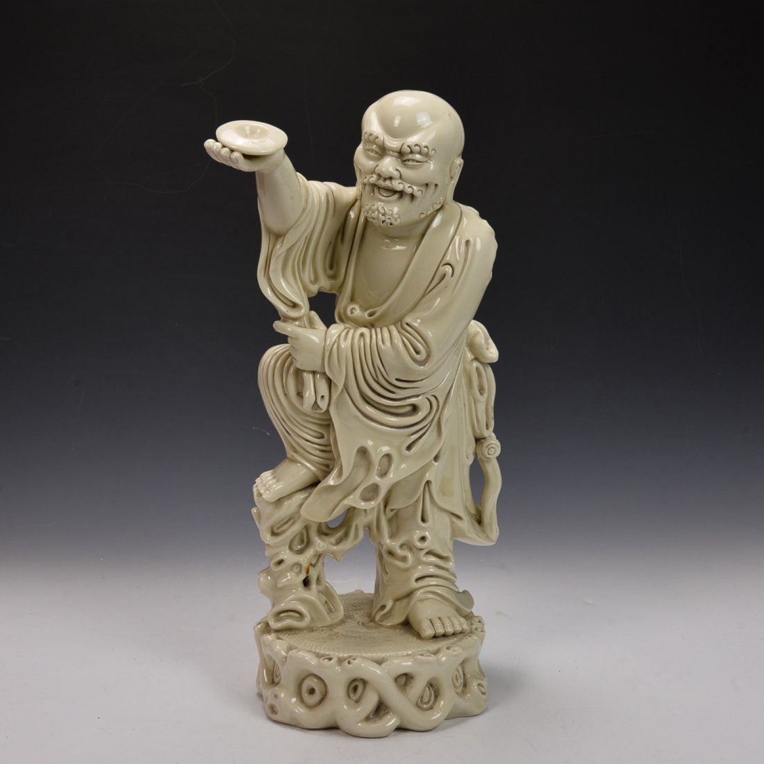 Chinese BLANCE-DE Chinese Seated Figure of Da-Mo