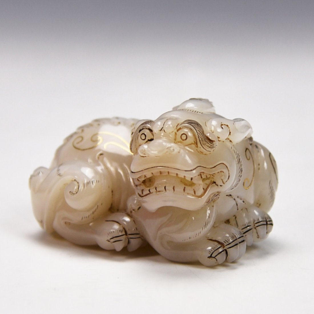 Chinese White Jade Carved QiLing