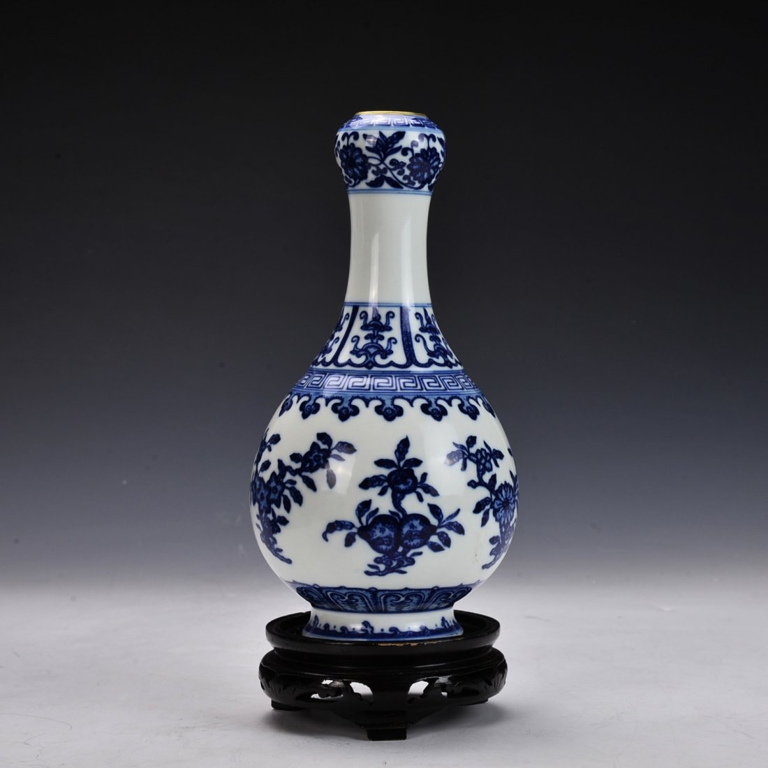 Chinese Blue and White Vase with Gilt