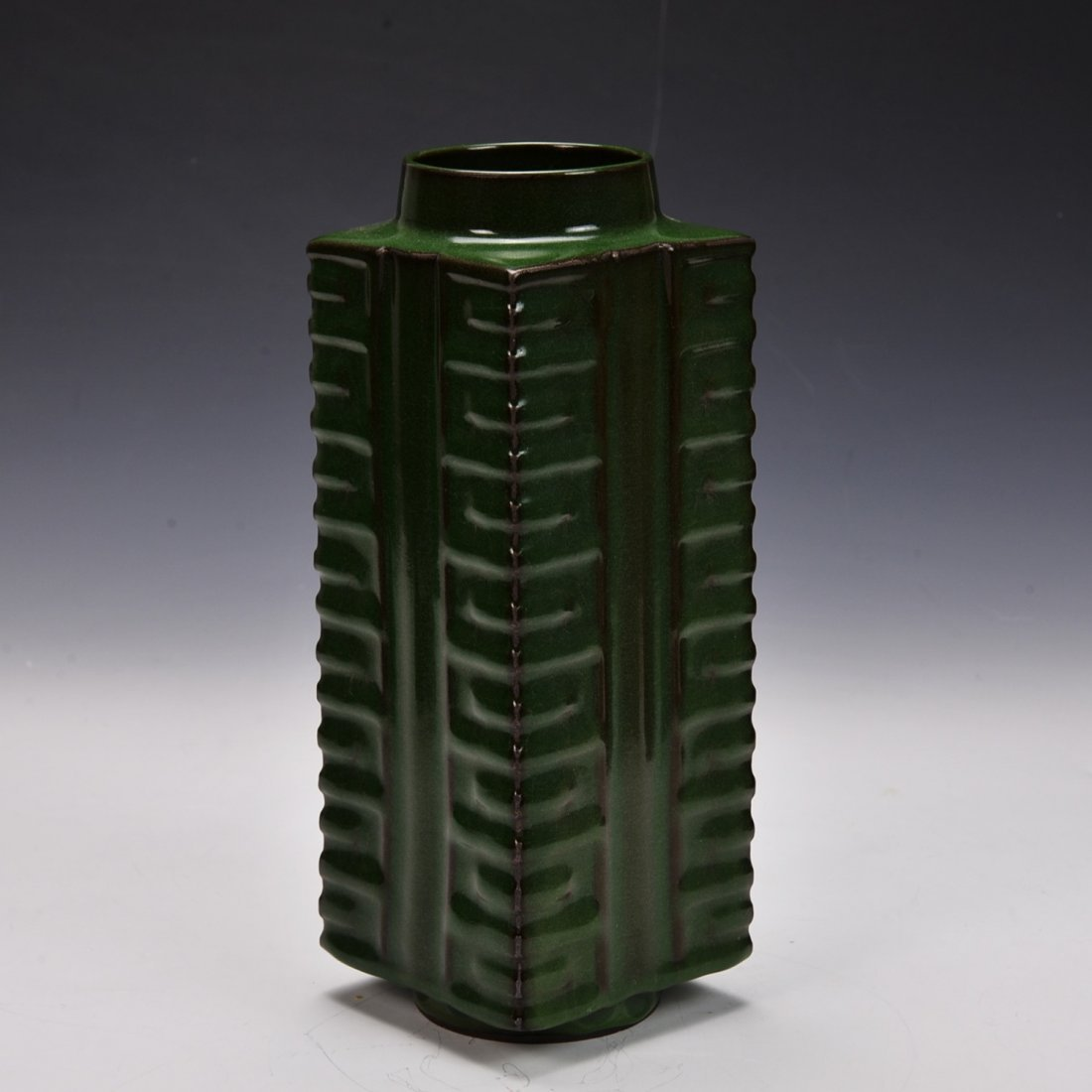Antique Chinese Copper Green Cong Vase
