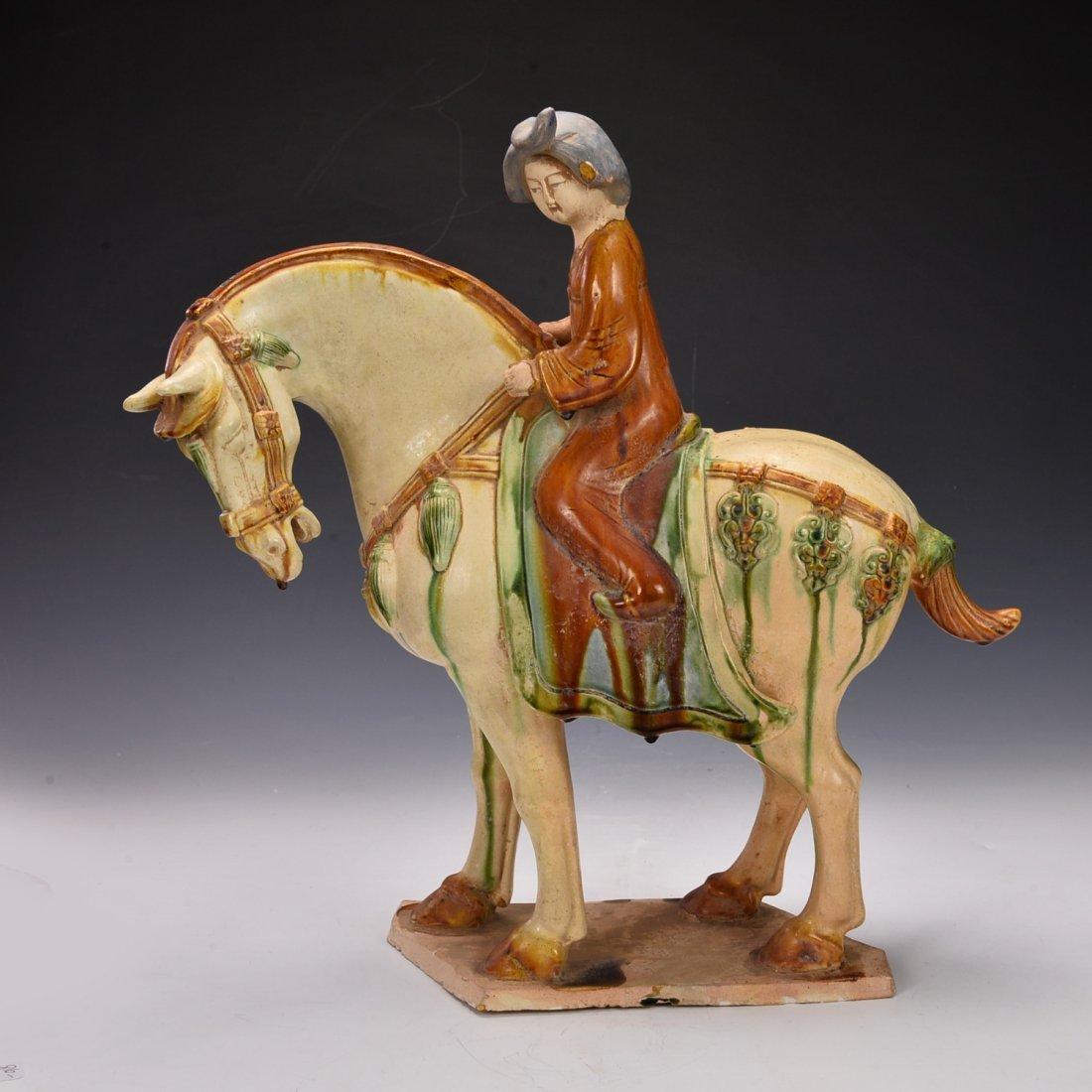 Chinese Sancai Glazed Riding Horse Figure