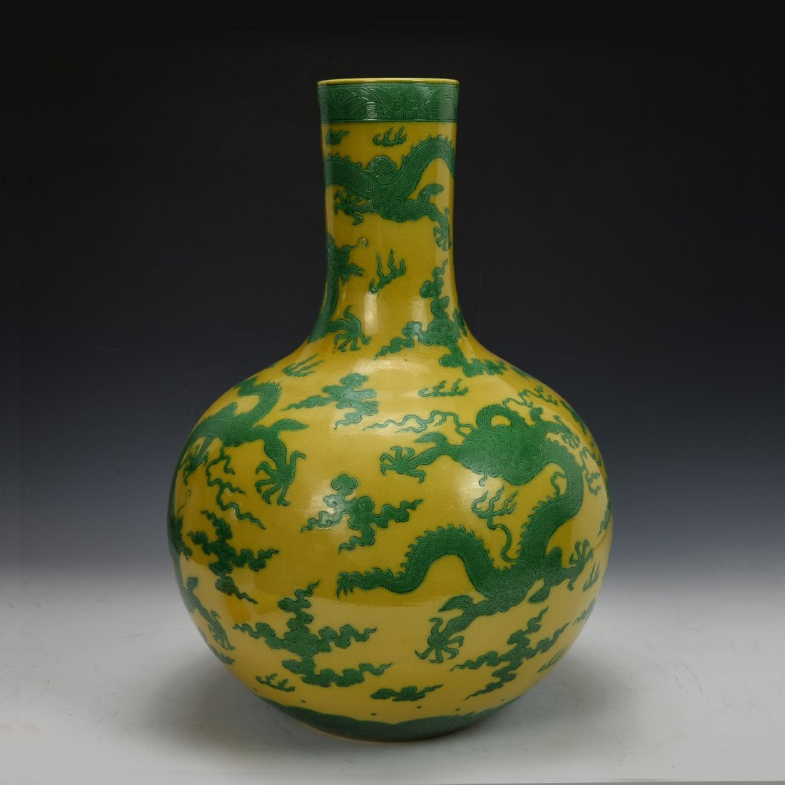 Chinese Antique Yellow and Green Bottle Vase